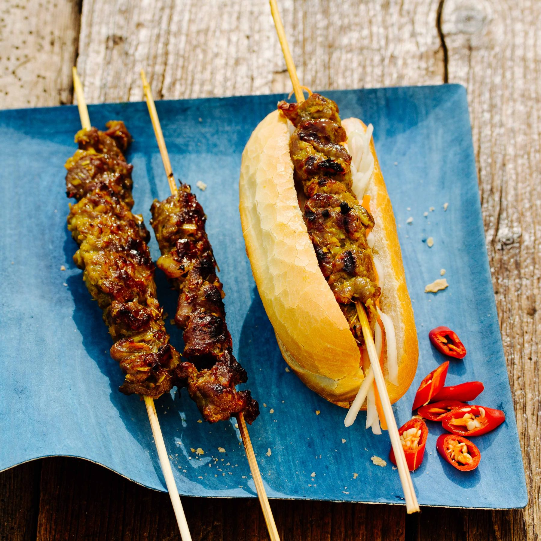 Khmer Baguette mit gegrilltem Rindfleisch