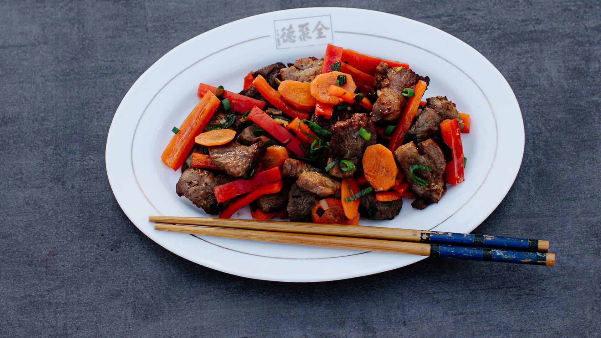 Schweinefleisch aus dem Wok mit Austernsauce – Haoyou Chao Zhurou